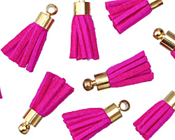 Hot Pink w/ Gold (plated) Bead Cap Faux Suede Tassel 17mm