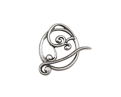 Antique Silver (plated) Swirly Toggle Clasp 18x16mm, 22mm bar