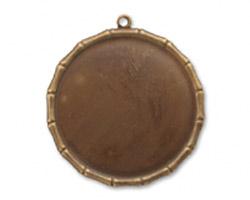 Vintaj Natural Brass Large Bamboo Circle Bezel Pendant 40mm