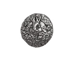 Green Girl Pewter Bunny Button 20mm