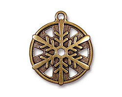 TierraCast Antique Gold (plated) Snowflake Drop 24x28mm