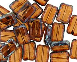 Czech Glass Smoky Topaz Picasso Rectangle 12x8mm