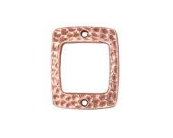 TierraCast Antique Copper (plated) Drilled Hammertone Rectangle Ring 21x18mm