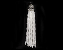 White Opal AB Crystal Tassel w/ Hematite & Clear Crystal Pave Cap 75mm