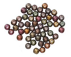 Czech Glass Autumn Metallics Mix Round Druk 4mm