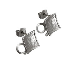 Satin Rhodium (plated) Concave Textured Square Ear Post w/ Loop & Back 11mm