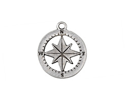 Greek Pewter Compass Charm 20x23mm
