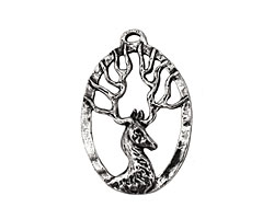 Green Girl Pewter Stag Pendant 24x36mm
