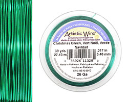 Artistic Wire Silver Plated Christmas Green 26 gauge, 30 yards