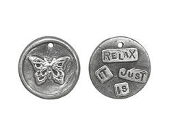 "The Lipstick Ranch Pewter ""Relax It Just Is"" Butterfly Wax Seal Charm 20mm"