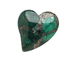Malachite & Pyrite Sweeping Right Heart Pendant 37x40mm