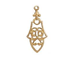 Brass Ornate Filigree Drop 15x35mm