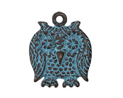 Greek Copper Patina Friendly Owl Charm 25x30mm