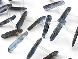 Kyanite (dark) Freeform Side Drilled Natural Drops 2-6x11-23mm