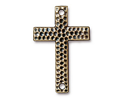 TierraCast Antique Brass (plated) Hammertone Cross 40x26mm
