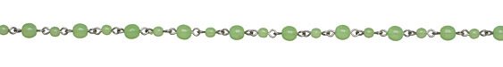 Czech Glass Round Milky Mint Silver (plated) Bead Chain