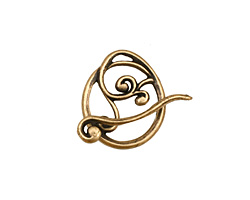 Antique Brass (plated) Swirly Toggle Clasp 18x16mm, 22mm bar
