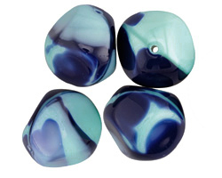 Czech Glass Blue Nile Faceted Nugget 19x17mm