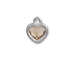 TierraCast Rhodium (plated) Heart Drop w/ Light Silk Crystal 13x16mm