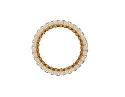White Miyuki Delicas Woven on Gold (plated) Stainless Steel Ring 19mm