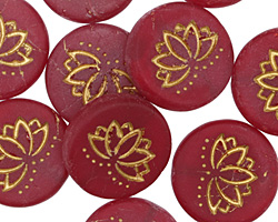 Czech Glass Matte Bronzed Cherry Lotus Coin 18mm