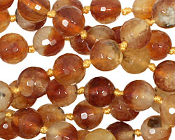 Honey Tourmalinated Quartz Faceted Round 8mm