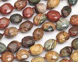 Red Creek Jasper Faceted Nugget 14-16x10-12mm