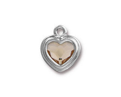 TierraCast Rhodium (plated) Stepped Heart Charm w/ Light Silk Crystal 15x17mm