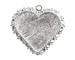 Nunn Design Sterling Silver (plated) Large Ornate Heart Bezel Pendant 40x37mm