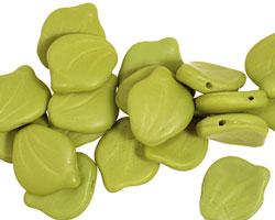 Czech Glass Wasabi Green (matte) Curved Leaf 12x14mm