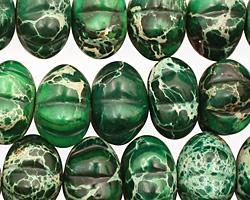Dark Emerald Impression Jasper Pumpkin 9x14mm