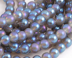 Opalite (glass) w/ Twilight AB Luster Round 10mm