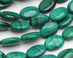Malachite Flat Oval 14x10mm
