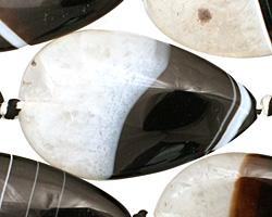 Black Sardonyx Flat Teardrop 40x25mm