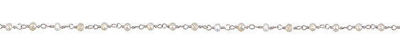 White AB Crystal 4mm Antique Silver (plated) Bead Chain