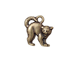 TierraCast Antique Brass (plated) Scary Cat Charm 17x18mm