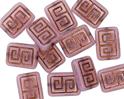 Czech Glass Pink Opal w/ Dark Bronze Tribal Rectangle 13x9mm