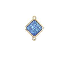 Metallic Aqua Crystal Druzy Diamond Link in Gold Finish Bezel 16x12mm