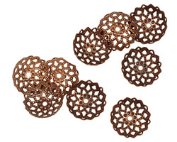 Antique Copper (plated) Beaded Filigree Bead Cap 4x11mm