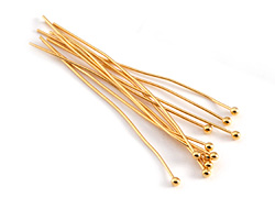 "Gold (plated) Ball Headpin 2"", 21 gauge"