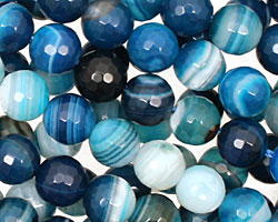 Sky Blue Line Agate Faceted Round 8mm