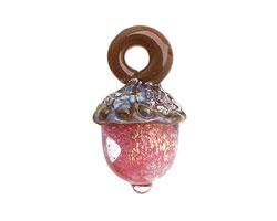 Grace Lampwork Pink Passion Acorn 17x28mm