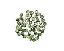 Czech Glass Mirror Fern Green Fire Polished Round 2mm