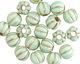 Czech Glass Mint Green w/ Gold Large Hole Melon Round 8mm