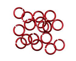 Red Anodized Aluminum Jump Ring (Saw Cut) 6mm, 20 gauge (4.1mm inside diameter)