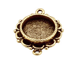 Nunn Design Antique Gold (plated) Mini Ornate Circle Bezel Link 25x19mm
