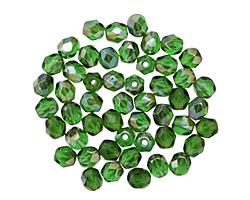 Czech Fire Polished Glass Emerald Celsian Round 4mm