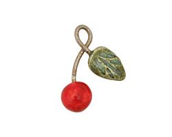 Earthenwood Studio Ceramic Cherry Charm 15x22mm