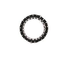 Jet Miyuki Delicas Woven on Stainless Steel Ring 15mm