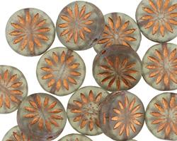 Czech Glass Matte Smoky w/ Bronzed Daisy Coin 12mm